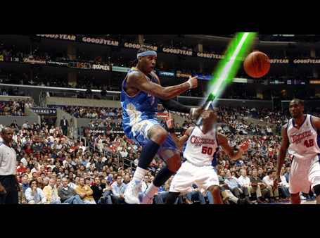 Carmelo Anthony, seen here in a screencap of his new sci-fi movie debut: